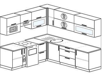 Угловая кухня 6,9 м² (2,1✕2,4 м), верхние модули 72 см, верхний модуль под свч, отдельно стоящая плита