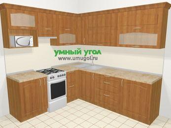 Угловая кухня МДФ матовый в классическом стиле 6,9 м², 210 на 240 см, Вишня, верхние модули 72 см, верхний модуль под свч, отдельно стоящая плита