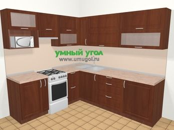 Угловая кухня МДФ матовый в классическом стиле 6,9 м², 210 на 240 см, Вишня темная, верхние модули 72 см, верхний модуль под свч, отдельно стоящая плита