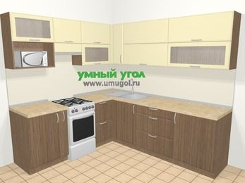 Угловая кухня МДФ матовый в современном стиле 6,9 м², 210 на 240 см, Ваниль / Лиственница бронзовая, верхние модули 72 см, верхний модуль под свч, отдельно стоящая плита