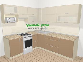 Угловая кухня МДФ матовый в современном стиле 6,9 м², 210 на 240 см, Керамик / Кофе, верхние модули 72 см, верхний модуль под свч, отдельно стоящая плита