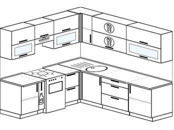 Угловая кухня 6,9 м² (2,1✕2,4 м), верхние модули 72 см, отдельно стоящая плита