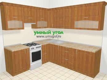 Угловая кухня МДФ матовый в классическом стиле 6,9 м², 210 на 240 см, Вишня, верхние модули 72 см, отдельно стоящая плита