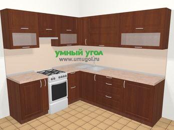Угловая кухня МДФ матовый в классическом стиле 6,9 м², 210 на 240 см, Вишня темная, верхние модули 72 см, отдельно стоящая плита