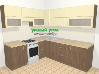 Угловая кухня МДФ матовый в современном стиле 6,9 м², 210 на 240 см, Ваниль / Лиственница бронзовая, верхние модули 72 см, отдельно стоящая плита