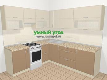 Угловая кухня МДФ матовый в современном стиле 6,9 м², 210 на 240 см, Керамик / Кофе, верхние модули 72 см, отдельно стоящая плита