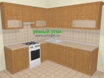 Угловая кухня МДФ матовый в стиле кантри 6,9 м², 210 на 240 см, Ольха, верхние модули 72 см, отдельно стоящая плита