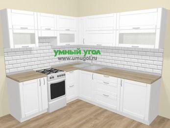 Угловая кухня МДФ матовый  в скандинавском стиле 6,9 м², 210 на 240 см, Белый, верхние модули 72 см, отдельно стоящая плита
