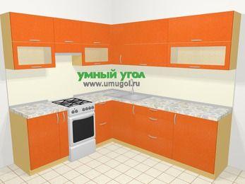 Угловая кухня МДФ металлик в современном стиле 6,9 м², 210 на 240 см, Оранжевый металлик, верхние модули 72 см, отдельно стоящая плита