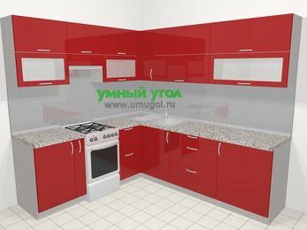 Угловая кухня МДФ глянец в современном стиле 6,9 м², 210 на 240 см, Красный, верхние модули 72 см, отдельно стоящая плита