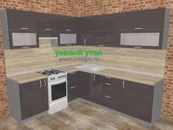 Угловая кухня МДФ глянец в стиле лофт 6,9 м², 210 на 240 см, Шоколад, верхние модули 72 см, отдельно стоящая плита