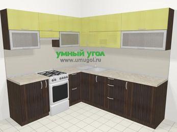 Кухни пластиковые угловые в современном стиле 6,9 м², 210 на 240 см, Желтый Галлион глянец / Дерево Мокка, верхние модули 72 см, отдельно стоящая плита