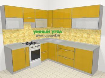 Кухни пластиковые угловые в современном стиле 6,9 м², 210 на 240 см, Желтый глянец, верхние модули 72 см, отдельно стоящая плита