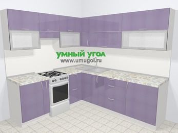 Кухни пластиковые угловые в современном стиле 6,9 м², 210 на 240 см, Сиреневый глянец, верхние модули 72 см, отдельно стоящая плита