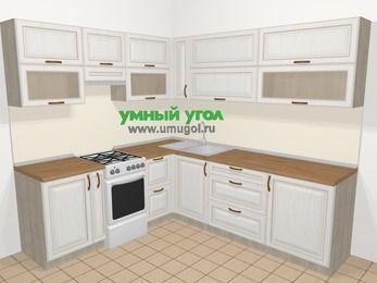 Угловая кухня МДФ патина в классическом стиле 6,9 м², 210 на 240 см, Лиственница белая, верхние модули 72 см, отдельно стоящая плита