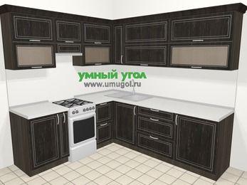 Угловая кухня МДФ патина в классическом стиле 6,9 м², 210 на 240 см, Венге, верхние модули 72 см, отдельно стоящая плита