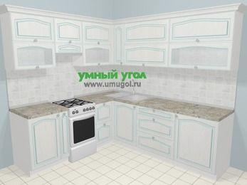 Угловая кухня МДФ патина в стиле прованс 6,9 м², 210 на 240 см, Лиственница белая, верхние модули 72 см, отдельно стоящая плита