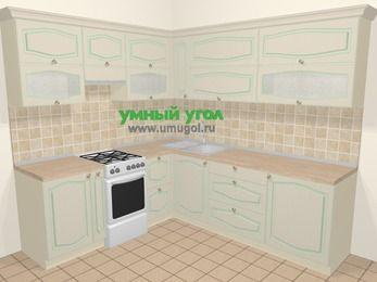 Угловая кухня МДФ патина в стиле прованс 6,9 м², 210 на 240 см, Керамик, верхние модули 72 см, отдельно стоящая плита