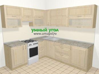 Угловая кухня из массива дерева в классическом стиле 6,9 м², 210 на 240 см, Светло-коричневые оттенки, верхние модули 72 см, отдельно стоящая плита