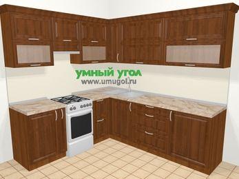 Угловая кухня из массива дерева в классическом стиле 6,9 м², 210 на 240 см, Темно-коричневые оттенки, верхние модули 72 см, отдельно стоящая плита