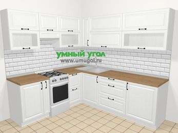 Угловая кухня из массива дерева в скандинавском стиле 6,9 м², 210 на 240 см, Белые оттенки, верхние модули 72 см, отдельно стоящая плита