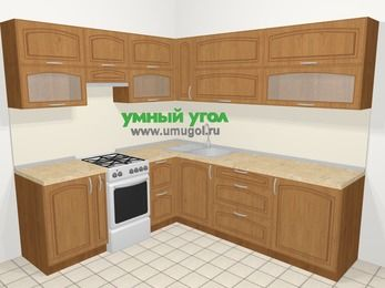 Угловая кухня МДФ патина в классическом стиле 6,9 м², 210 на 240 см, Ольха, верхние модули 72 см, отдельно стоящая плита