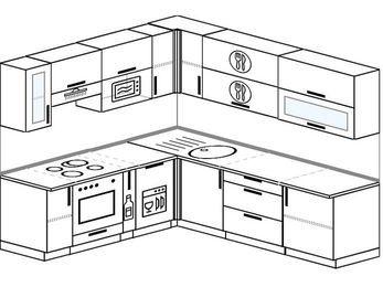 Угловая кухня 6,9 м² (2,1✕2,4 м), верхние модули 72 см, посудомоечная машина, верхний модуль под свч, встроенный духовой шкаф