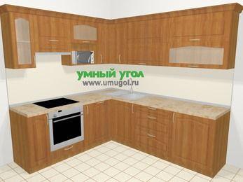 Угловая кухня МДФ матовый в классическом стиле 6,9 м², 210 на 240 см, Вишня, верхние модули 72 см, посудомоечная машина, верхний модуль под свч, встроенный духовой шкаф