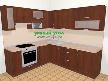 Угловая кухня МДФ матовый в классическом стиле 6,9 м², 210 на 240 см, Вишня темная, верхние модули 72 см, посудомоечная машина, верхний модуль под свч, встроенный духовой шкаф