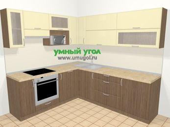Угловая кухня МДФ матовый в современном стиле 6,9 м², 210 на 240 см, Ваниль / Лиственница бронзовая, верхние модули 72 см, посудомоечная машина, верхний модуль под свч, встроенный духовой шкаф