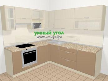 Угловая кухня МДФ матовый в современном стиле 6,9 м², 210 на 240 см, Керамик / Кофе, верхние модули 72 см, посудомоечная машина, верхний модуль под свч, встроенный духовой шкаф