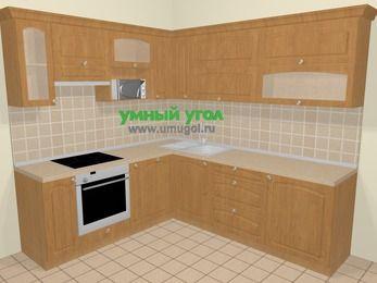 Угловая кухня МДФ матовый в стиле кантри 6,9 м², 210 на 240 см, Ольха, верхние модули 72 см, посудомоечная машина, верхний модуль под свч, встроенный духовой шкаф