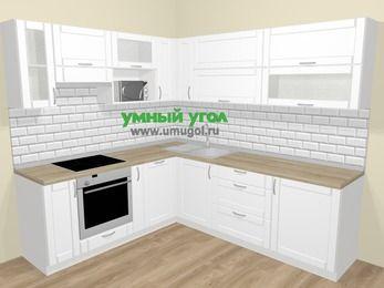 Угловая кухня МДФ матовый  в скандинавском стиле 6,9 м², 210 на 240 см, Белый, верхние модули 72 см, посудомоечная машина, верхний модуль под свч, встроенный духовой шкаф