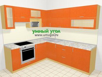 Угловая кухня МДФ металлик в современном стиле 6,9 м², 210 на 240 см, Оранжевый металлик, верхние модули 72 см, посудомоечная машина, верхний модуль под свч, встроенный духовой шкаф