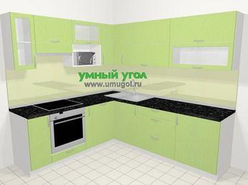 Угловая кухня МДФ металлик в современном стиле 6,9 м², 210 на 240 см, Салатовый металлик, верхние модули 72 см, посудомоечная машина, верхний модуль под свч, встроенный духовой шкаф