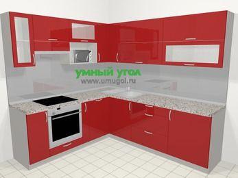 Угловая кухня МДФ глянец в современном стиле 6,9 м², 210 на 240 см, Красный, верхние модули 72 см, посудомоечная машина, верхний модуль под свч, встроенный духовой шкаф