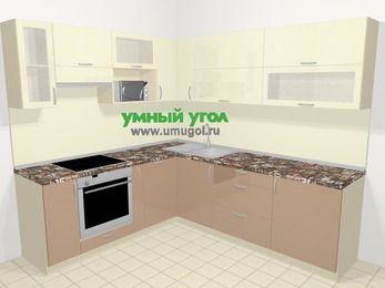 Угловая кухня МДФ глянец в современном стиле 6,9 м², 210 на 240 см, Жасмин / Капучино, верхние модули 72 см, посудомоечная машина, верхний модуль под свч, встроенный духовой шкаф