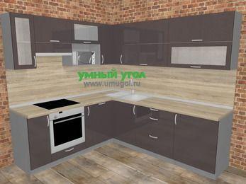 Угловая кухня МДФ глянец в стиле лофт 6,9 м², 210 на 240 см, Шоколад, верхние модули 72 см, посудомоечная машина, верхний модуль под свч, встроенный духовой шкаф