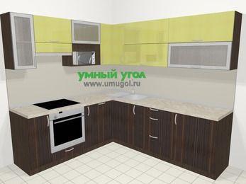 Кухни пластиковые угловые в современном стиле 6,9 м², 210 на 240 см, Желтый Галлион глянец / Дерево Мокка, верхние модули 72 см, посудомоечная машина, верхний модуль под свч, встроенный духовой шкаф