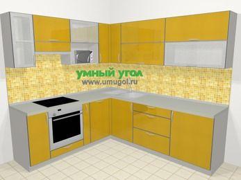 Кухни пластиковые угловые в современном стиле 6,9 м², 210 на 240 см, Желтый глянец, верхние модули 72 см, посудомоечная машина, верхний модуль под свч, встроенный духовой шкаф
