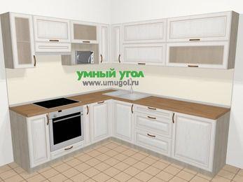 Угловая кухня МДФ патина в классическом стиле 6,9 м², 210 на 240 см, Лиственница белая, верхние модули 72 см, посудомоечная машина, верхний модуль под свч, встроенный духовой шкаф