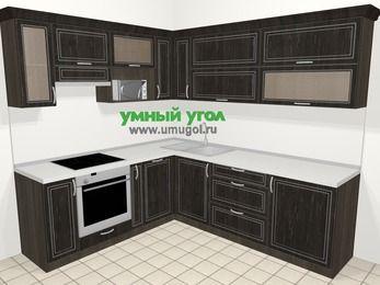 Угловая кухня МДФ патина в классическом стиле 6,9 м², 210 на 240 см, Венге, верхние модули 72 см, посудомоечная машина, верхний модуль под свч, встроенный духовой шкаф