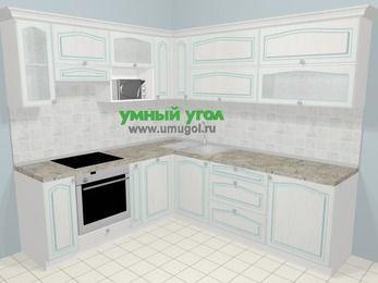 Угловая кухня МДФ патина в стиле прованс 6,9 м², 210 на 240 см, Лиственница белая, верхние модули 72 см, посудомоечная машина, верхний модуль под свч, встроенный духовой шкаф