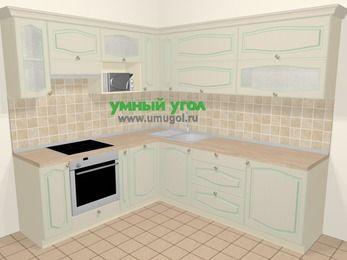 Угловая кухня МДФ патина в стиле прованс 6,9 м², 210 на 240 см, Керамик, верхние модули 72 см, посудомоечная машина, верхний модуль под свч, встроенный духовой шкаф