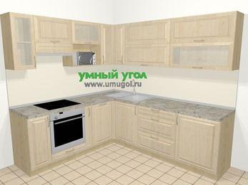 Угловая кухня из массива дерева в классическом стиле 6,9 м², 210 на 240 см, Светло-коричневые оттенки, верхние модули 72 см, посудомоечная машина, верхний модуль под свч, встроенный духовой шкаф