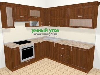 Угловая кухня из массива дерева в классическом стиле 6,9 м², 210 на 240 см, Темно-коричневые оттенки, верхние модули 72 см, посудомоечная машина, верхний модуль под свч, встроенный духовой шкаф