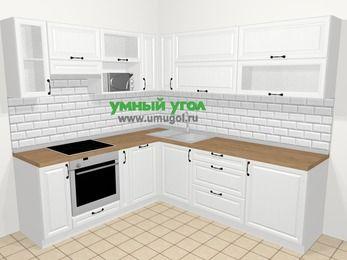 Угловая кухня из массива дерева в скандинавском стиле 6,9 м², 210 на 240 см, Белые оттенки, верхние модули 72 см, посудомоечная машина, верхний модуль под свч, встроенный духовой шкаф