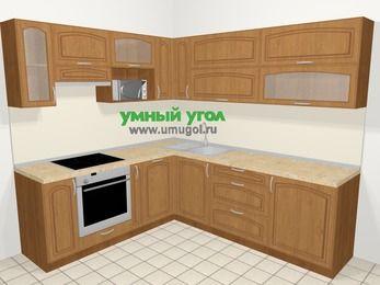 Угловая кухня МДФ патина в классическом стиле 6,9 м², 210 на 240 см, Ольха, верхние модули 72 см, посудомоечная машина, верхний модуль под свч, встроенный духовой шкаф