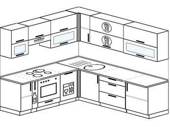 Угловая кухня 6,9 м² (2,1✕2,4 м), верхние модули 72 см, посудомоечная машина, встроенный духовой шкаф