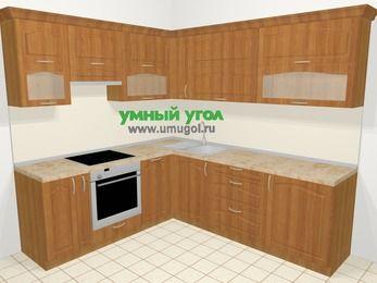 Угловая кухня МДФ матовый в классическом стиле 6,9 м², 210 на 240 см, Вишня, верхние модули 72 см, посудомоечная машина, встроенный духовой шкаф